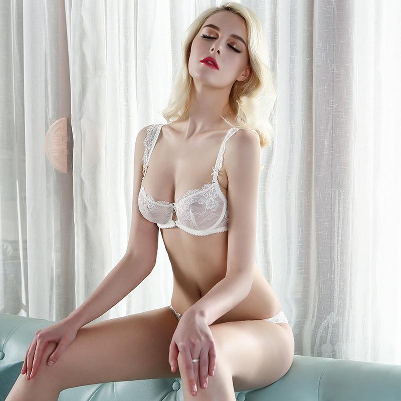 Lace Bra Set Transparent Underwear Women Summer Newest Ultra-thin Plus Size Push Up Sexy Lingerie D Cup 90C 90D 95D White/lilac