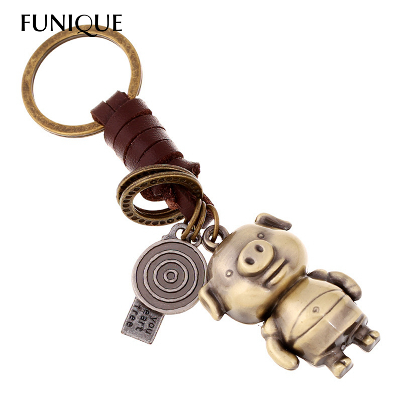 FUNIQUE New Fashion Cute Animal Pig Key Chains Vintage Style Handmade Weaving Braided Key Ring for Car Key Bag Leather Jewelry