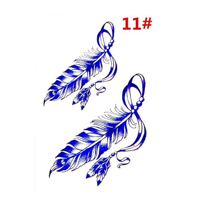 Sale New Sweet Blue Feather Flower Arm Back Temporary Stickers Female Men Couple Disposable Tattoo Stickers Fashion Body Art 3
