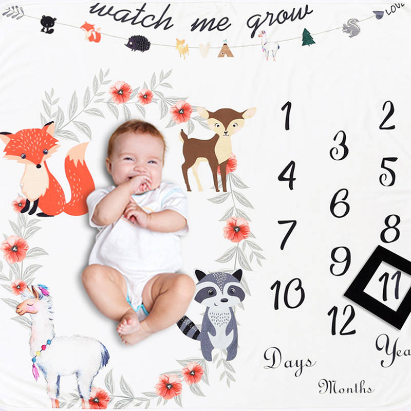 Newborn Baby Photography Blanket Cute Infant Cartoon Print Backdrop Photography Props For Baby Girl Boy Newborn Baby Bed Blanket