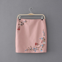Skirt Shorts Candy Colors Summer Skirt Girl Sexy Embroidery Floral Leather Mini Skirt High Waist Pencil