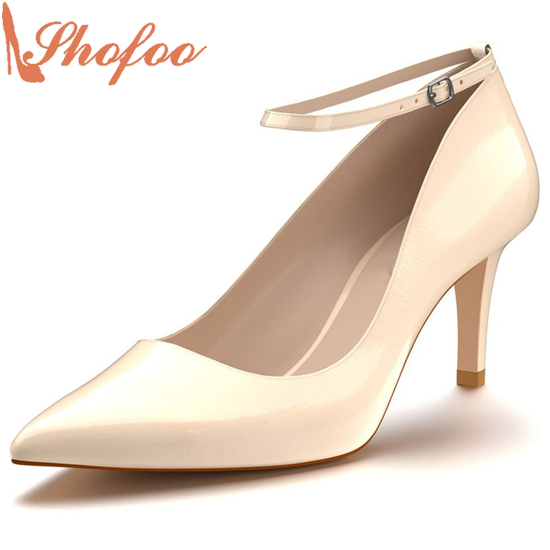 Shofoo 2017 New Arrive Women Sexy High Heels Pointed Toe Ankle Buckle Strap Pumps Dress Casual Shoes Aapatillas Superstar  shofoo newest women shoes med heels pointed toe pumps for woman dress