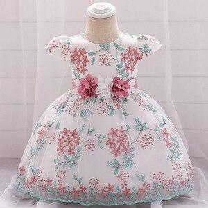 Bebê menina vestido bordado Dress0-24M 1 ano de idade bebê menina vestido de aniversário do bebê rendas vestido de festa de aniversário princesa