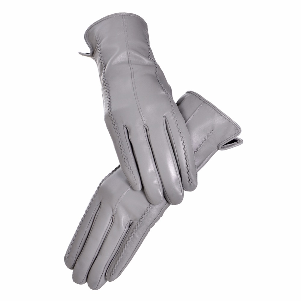 Ladies Women Soft Sheepskin Real 100/% Leather Gloves with lining Driving Winter