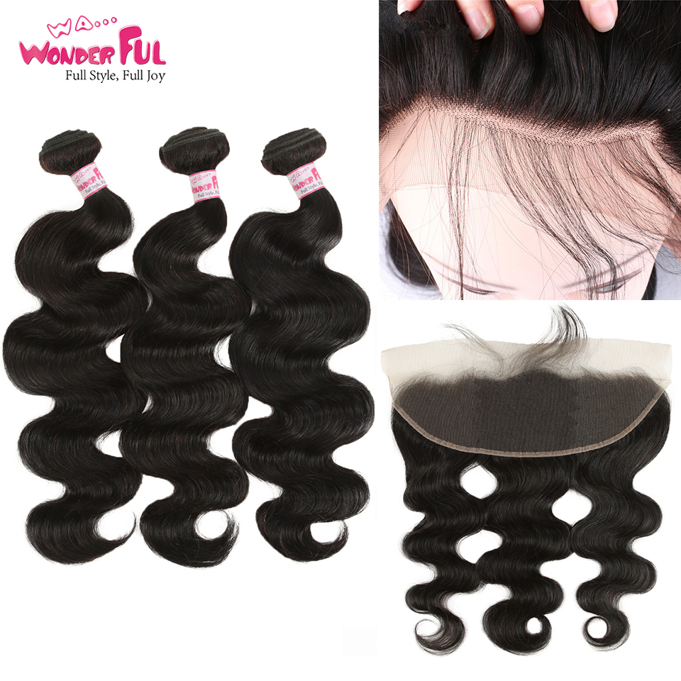Peruvian Body Wave 3/4 Bundles With Lace Frontal 100% Human Hair Remy Bundles With Frontal Fast Free Shipping