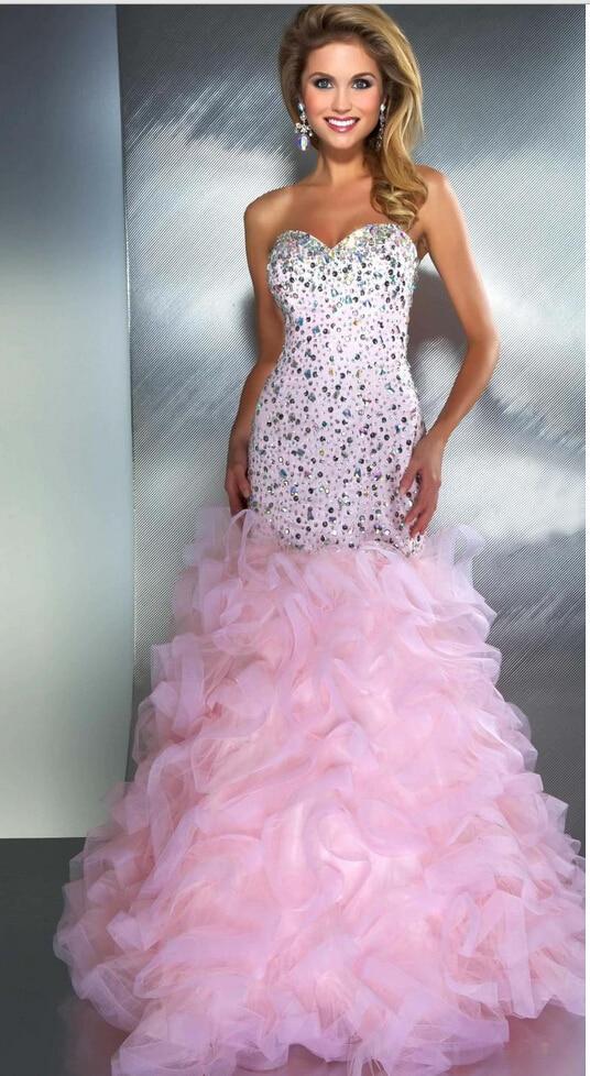 Elegant Royal Blue Pink Sparkly Prom Dresses Party Mermaid