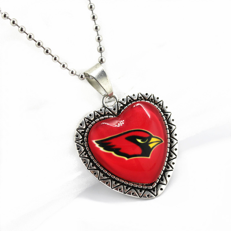 2017 New 10pcs/lot glass pendant heart Arizona Cardinals sports team with 45cm beads chains football necklace jewelry making
