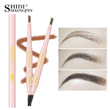 LANJINGLIN 4 Color Double Ended Eyebrow Pencil Waterproof Long Lasting No Blooming Rotatable Triangle Eye Brow Tatoo Pen(China)