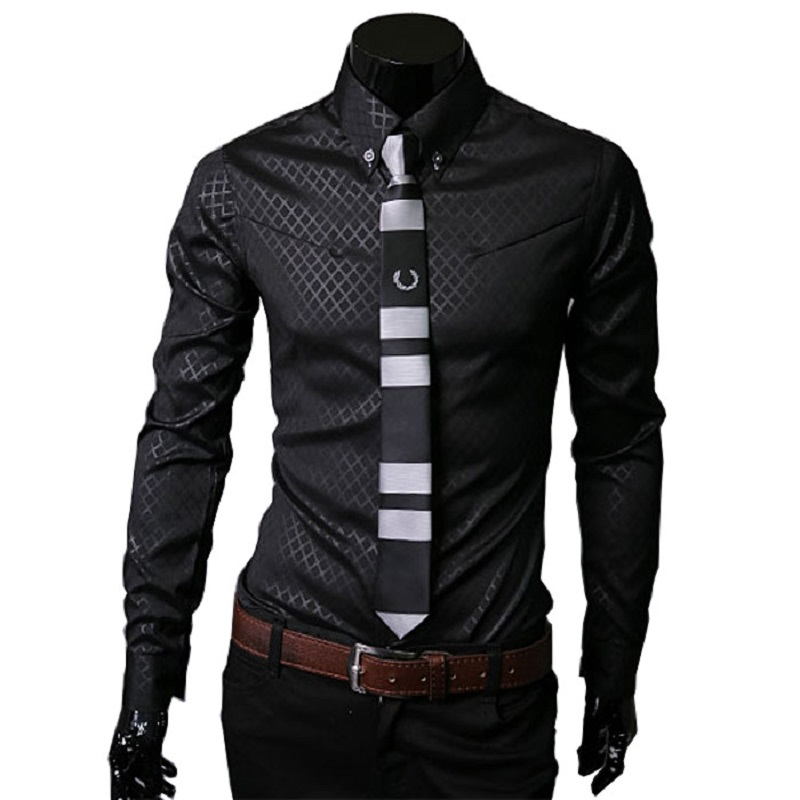 Camisas Social Masculinas 2018 New Mens Slim Shirt Dark Plaid Shirts For Men Long Sleeve Business Formal Shirt Large Size 5XL