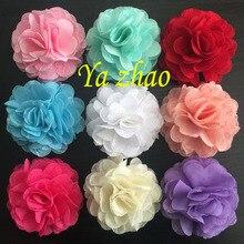 Модные шифоновые кружевные очаровательные цветы, тканевые цветы для повязки на голову, одежда, обувь 48 шт./лот, 12 цветов