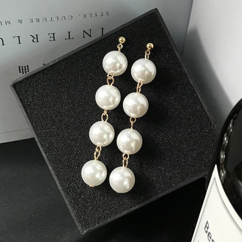 Fashion Elegant Red Black Plush Ball Drop Earrings/Pearl Long Earrings Gift for Wedding Party 12
