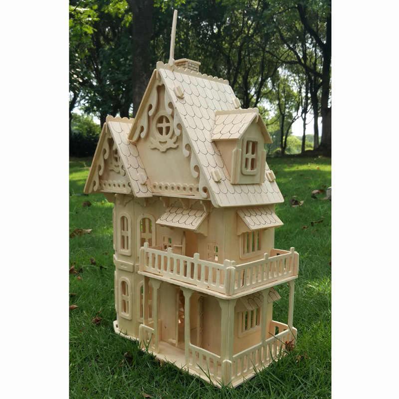 Drewna miniaturowy domek dla lalek diy do lalek dom montowane edukacyjne udawaj zabawki Mini 3D Stereo puzzle dom dla dzieci dziewczyny