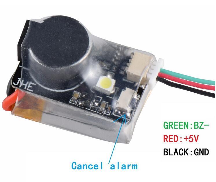 Localizador jhe42b 5 v super alto buzzer tracker 110db com led campainha alarme para multirotor fpv corrida zangão controlador de vôo