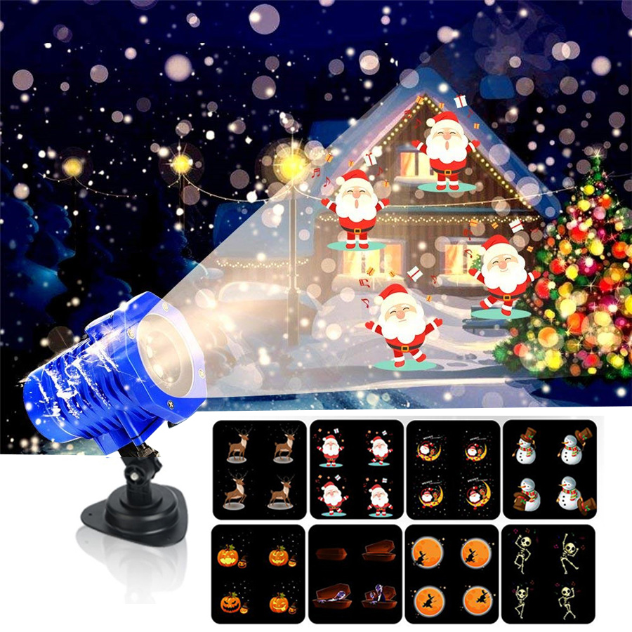 BEIAIDI 8 Patterns HD Christmas LED Animated Projector Light Outdoor Halloween Birthday Wedding Party Decoration Projection Lamp