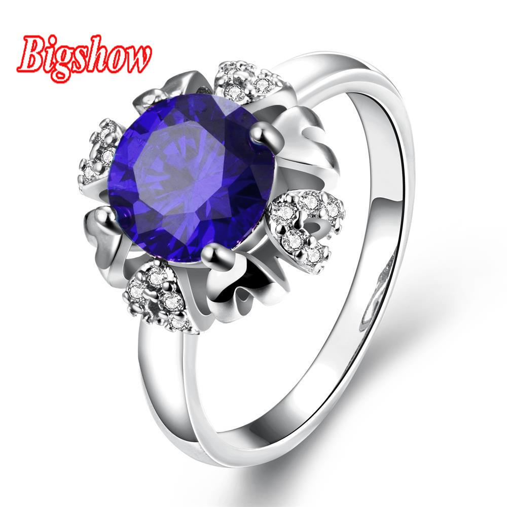 New arrival 24k real platinum rose gold yellow gold plated jewelry sapphire stone rings Czech Crystals R278-C-8