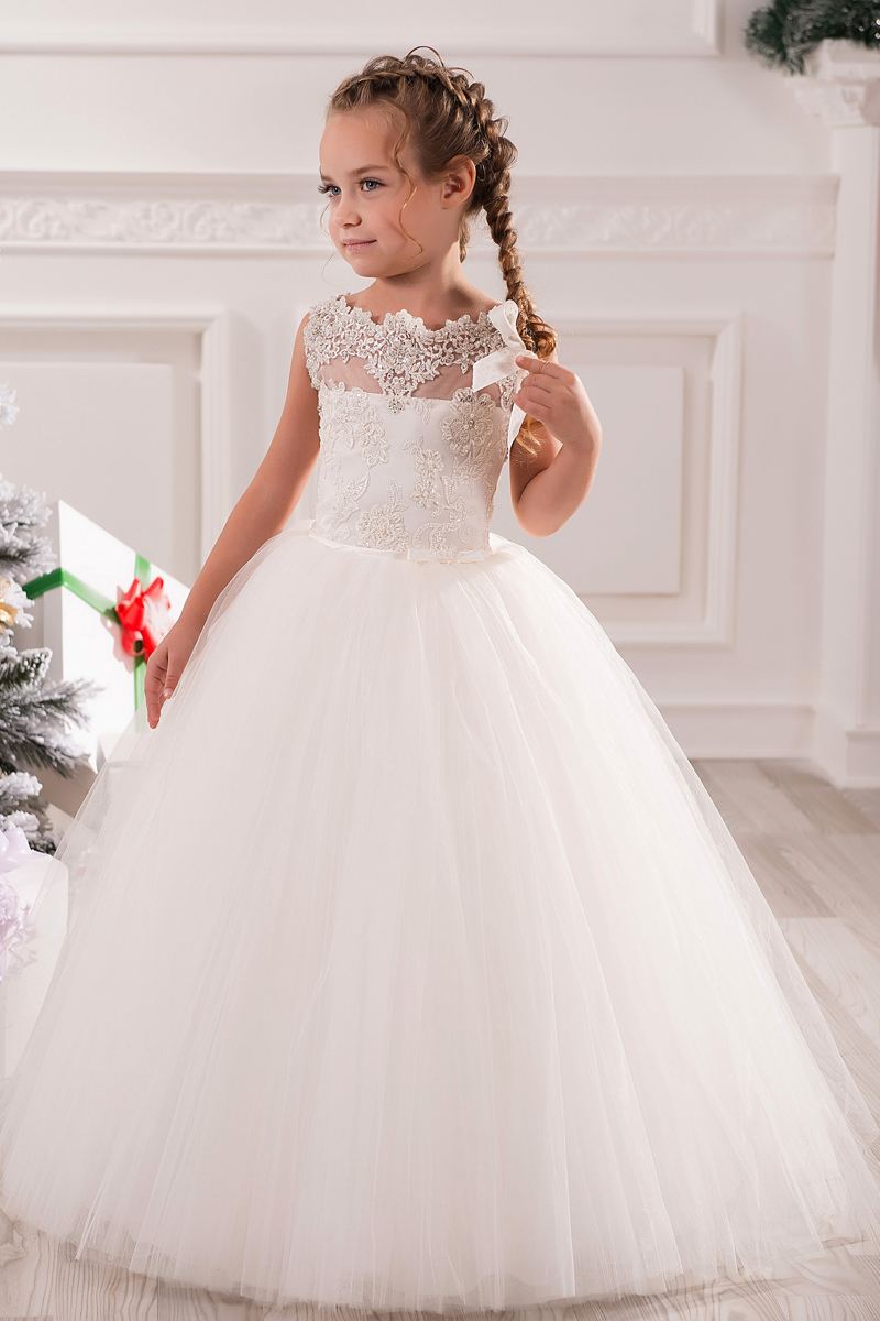 39c3c13595c White 2017 Appliques Lace Long Girl Kids Clothes Gown first ...