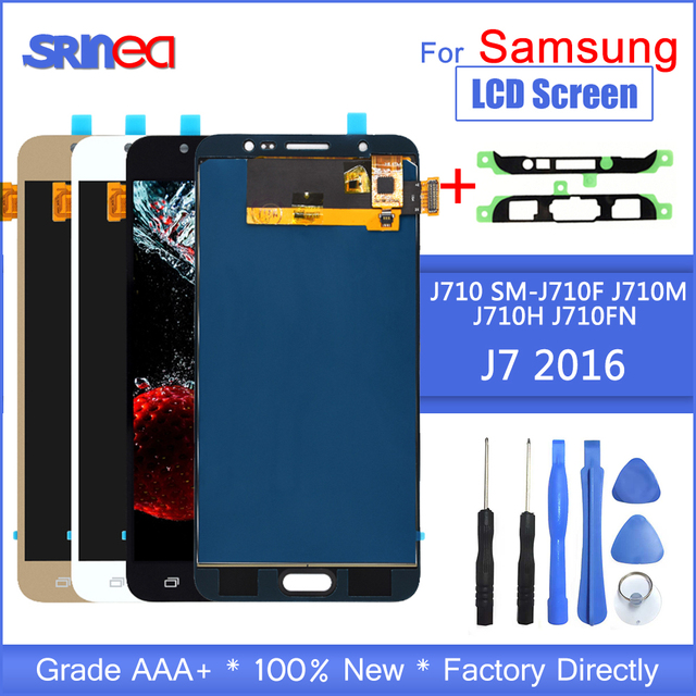 J710 ЖК дисплей для Samsung Galaxy J7 2016 и сенсорный экран дигитайзер сборка Регулируемая Sm J710f J710m J710h + Клей Инструменты