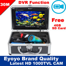 Eyoyo Authentic 30M 1000TVL HD CAM Skilled Fish Finder Underwater Fishing Video Recorder DVR 7″ White LED Shade Monitor