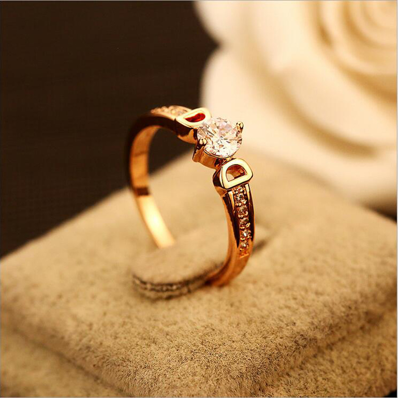 Quality Luxury D Metal Rings Big Zircon Women Rose Gold ...