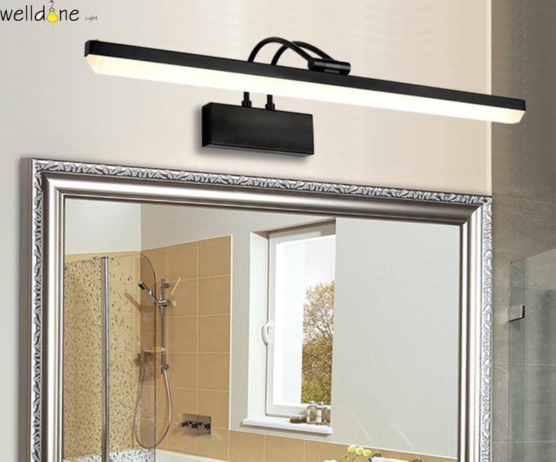 Moderne led zwarte spiegel lamp badkamer vanity wandmontage licht