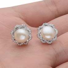 BELLA 925 Sterling Silver Cubic Zircon Bridal Earrings 9M Ivory Natural Pearl Earrings Wedding Accessories Party Jewelry