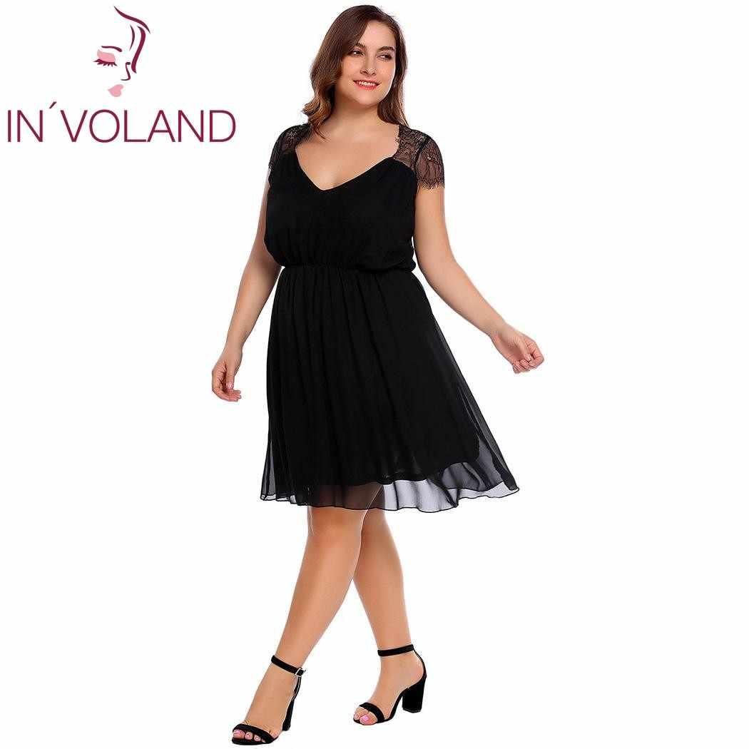 044ccf69b6 ... IN'VOLAND Plus Size Women Chiffon Dress L-4XL Lace Cap Sleeve Solid A  ...