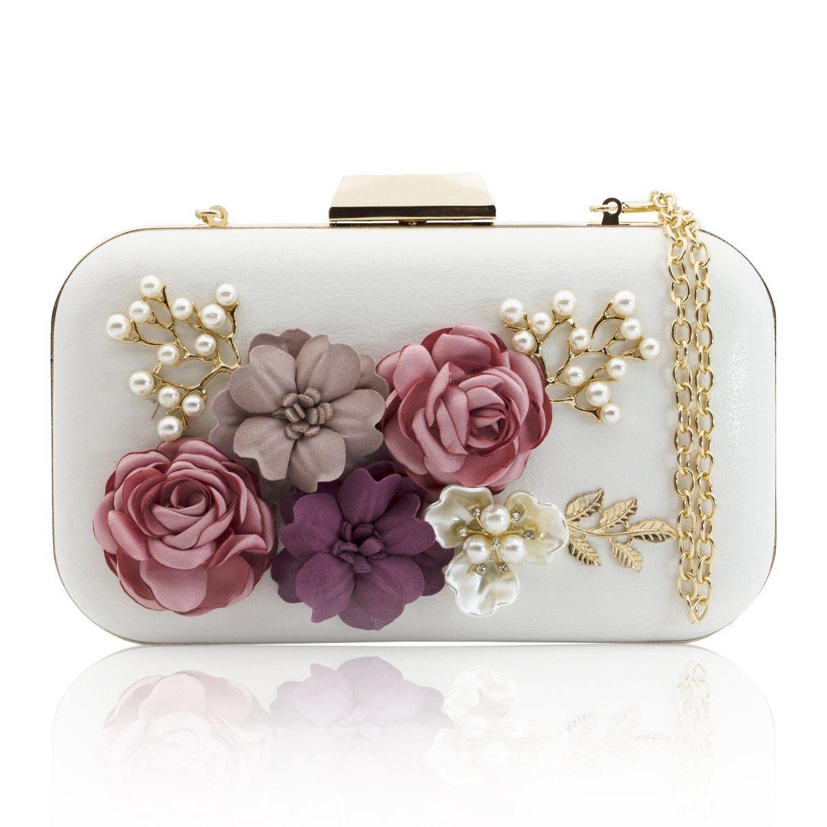 TFTP-Women Clutches Purses Bags Flower Leather Envelope Pearl Wallet Evening Handbag(white)