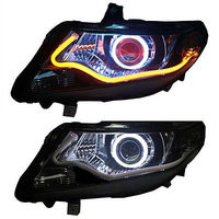 Headlights For Honda City 2009 2012 With Angel Eyes Red Demon Halo Light And HID