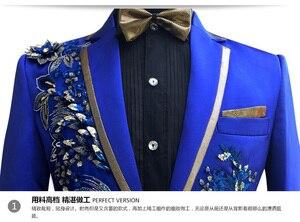 Image 3 - שלוש חתיכות להגדיר חליפות גברים של זמרים לבצע שלב להראות פאייטים רקום פרח אדום כחול ורוד חתונה חליפת תלבושות Homme