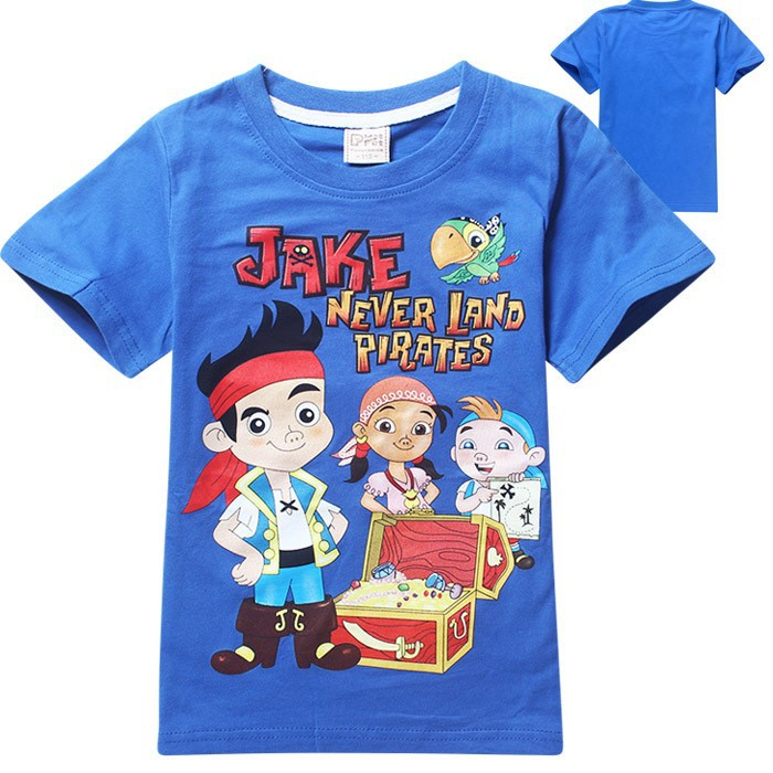 Boys T shirt Clothes Kids Baby Jake And The Neverland Pirates Clothing 100% Cotton Clothes short Sleeve T Shirt For Boys fashion summer kids boys clothing set 100% cotton short sleeve british and american flag t shirt and jeans boys clothes suits