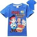 Meninos camiseta Roupa Dos Miúdos Do Bebê Jake And The Neverland piratas Roupas 100% Roupas de Algodão Camisa de Manga curta T Para meninos