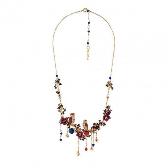 France Les Nereides Purple Couple Owl Flowers Pendant Necklace For Women Enamel Fashion Jewelry Accessories Freeshipping