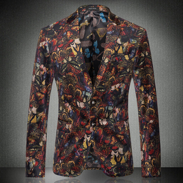 2016 Mens Florales Blazers y Chaquetas Tamaño M-3XL Diseñador Estilo Coreano de Impresión de Un Solo Pecho Slim Fit Hombres Blazer Casual