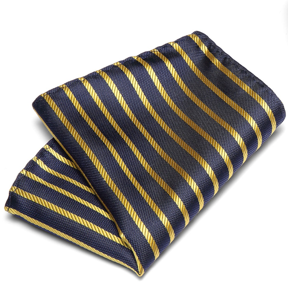 Men's Hanky Polyester Silk Pocket Squares Plaid Design Handkerchief Luxury Groom Wedding Party Chest Towel