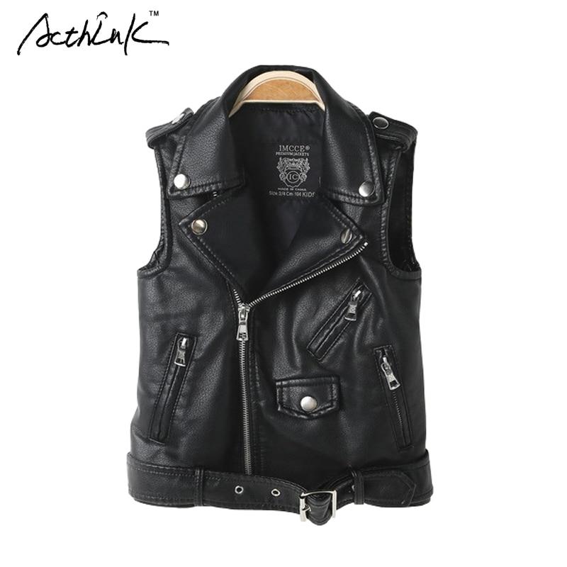 ActhInK 2017 New Boys Winter Faux Leather Vest Coat Active Teenager Boys Motorcycle Jacket Kids Spring PU Leather Vest Coat,C294