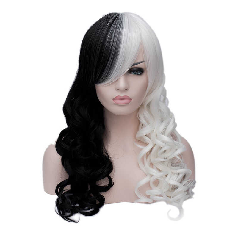 Hair Cap+Cruella Deville Side Bangs Half White and Black Layered Natural Body Wave Synthetic Cosplay Wig For Party