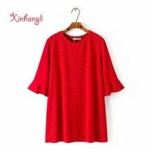 Mujer camisetas o-cuello rojo