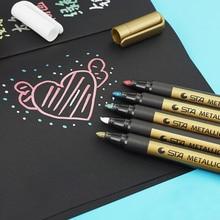 STA nuevo 1 piezas de pintura de la pluma de Metal de Color tecnología de lápiz de oro y plata de pintura de la pluma estudiante suministros marcador pluma