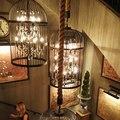 Gaiola gaiola de Ferro lâmpada lustre lustre Chinês do vintage Americano criativo personalizado lâmpadas de cristal restaurante sala de Jantar