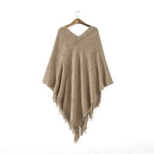 Women Ladies V Neck Casual Loose Cape Outerwear Tassel Poncho Knit Tops Pullover