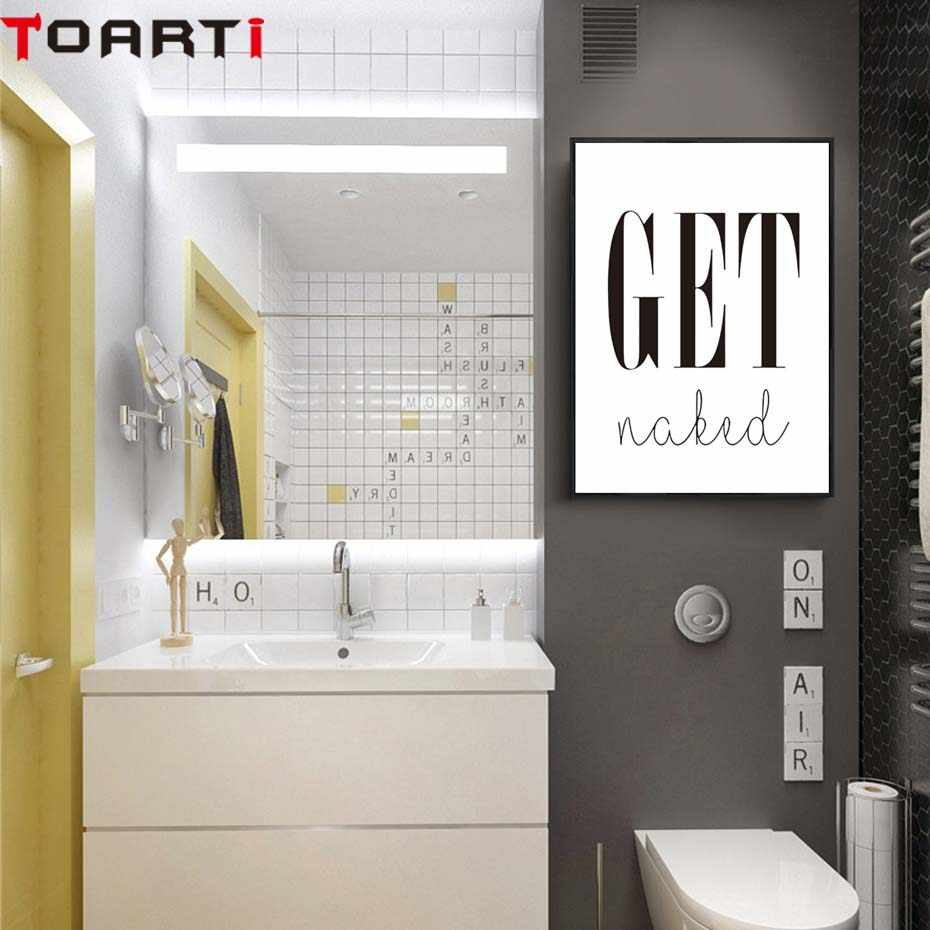Get naked posterprints toilet life quote modular wall art wall picture for bathroom modern canvas painting washroom home decor