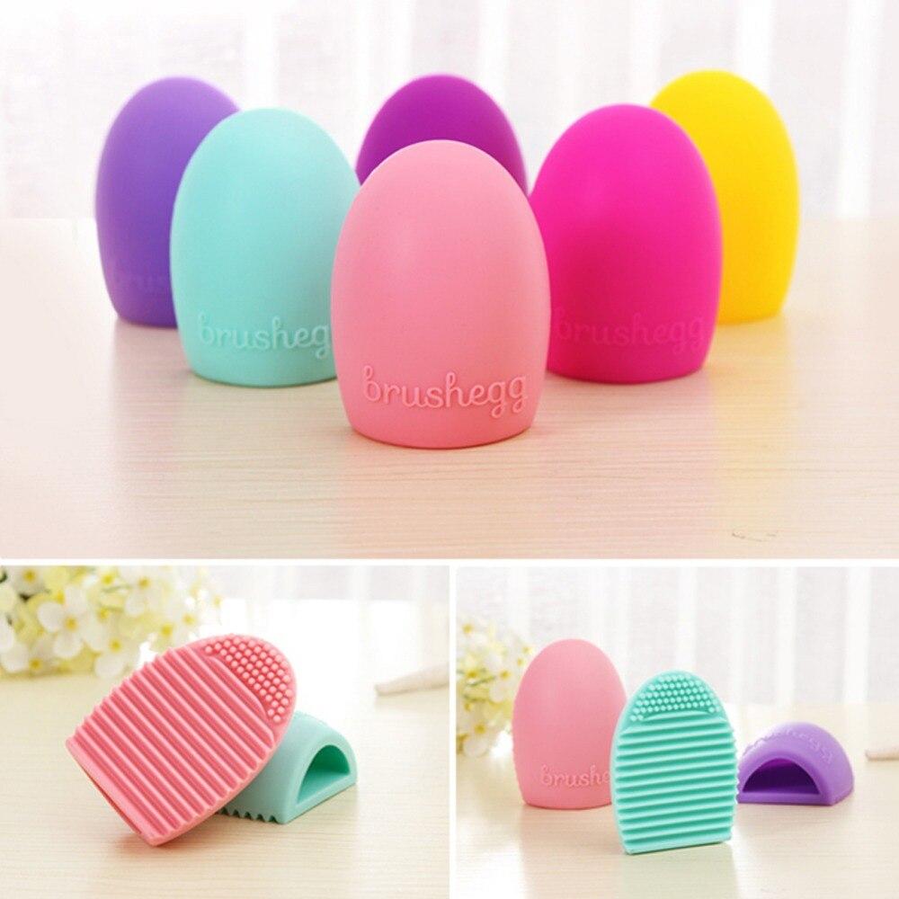 1pcs Creative New Clean Makeup Brush Scrub Brush Silicone Egg Shaped Brush Wash Artifact Tool - Color Random