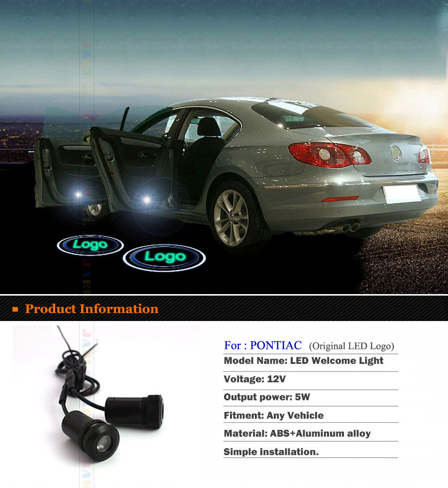 2PCs LED Door Ghost Shadow Light Courtesy led car laser projector Logo Case For PONTIAC