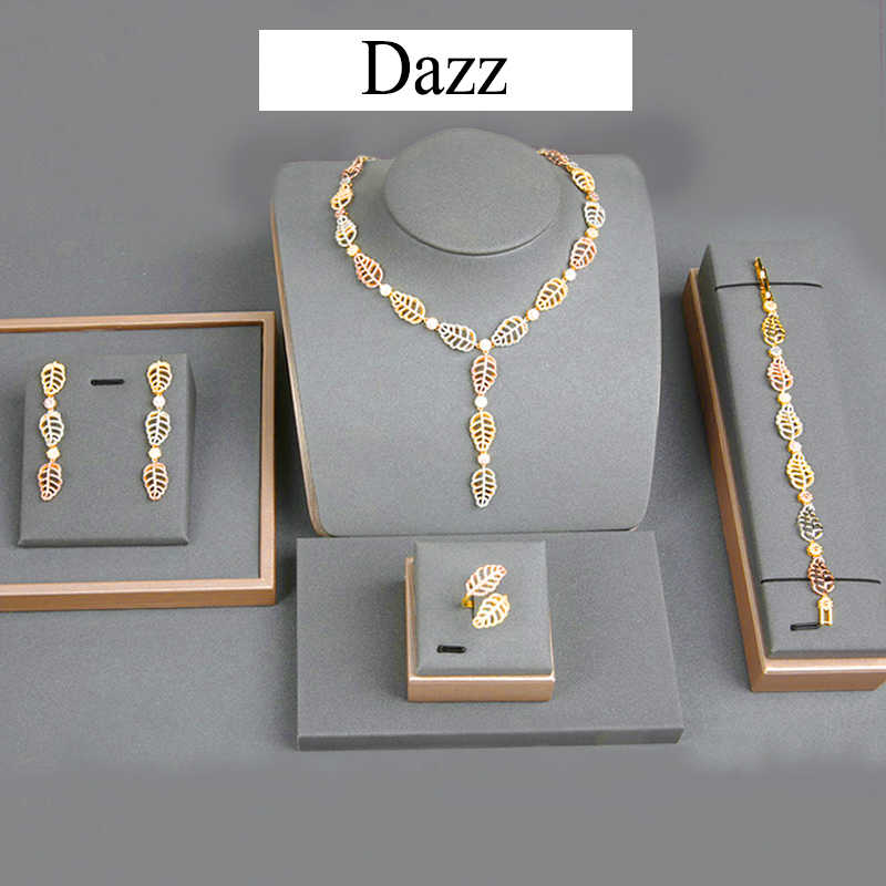 Dazz 4 Pc Luxury Jewelry Set Leaf Flowers Africa Zircon Nigeria Women Wedding Dubai Bridal Necklace Earrings Ring Bracelets 2019