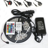 LED Strip Waterproof 5050 RGB Flexible Light 5M 300 SMD 24 Keys IR Remote Controller 12V 5A Power Adapter For Ceiling decorate