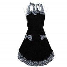 Accesorios de cocina bonitos delantales Vintage negros coquetos de cocina Retro Para Mujer con bolsillos para regalo MarT7