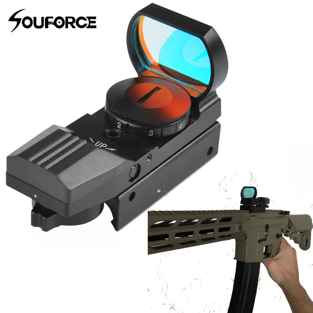 Tactical 1x22-33mm Multi 4 Reticle Electro Red Dot Sight Riflescope with Mount for 20mm Rail