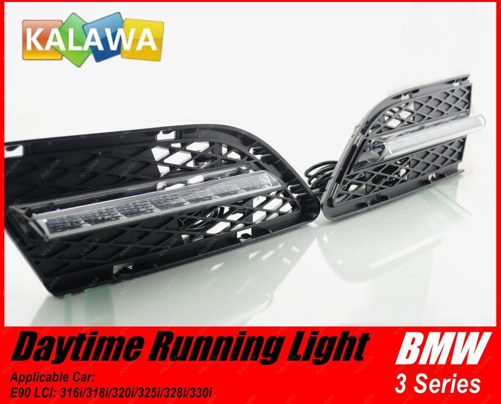 1 pair 3 series E90 LCI 318i Car special LED Daytime Running Light LED DRL Lamp for BMW GGG (FREESHIPPING) 6 led white ip68 day running light for benz e series pair