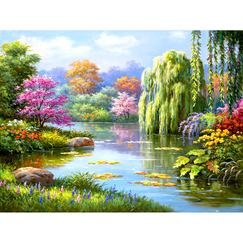 Full Square/Round Drill 5D DIY Diamond Painting spring tree landscape 3D Embroidery Cross Stitch 5D Rhinestone Decor GiftFull Square/Round Drill 5D DIY Diamond Painting spring tree landscape 3D Embroidery Cross Stitch 5D Rhinestone Decor Gift