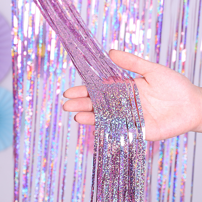1M Rainbow Backdrop Foil Curtains Background Baby Shower Christmas Wedding Party Decor Birthday Bachelorette Party Supplies,Q